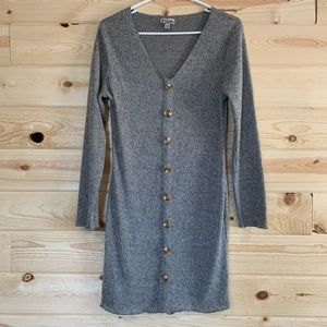Grey Ribbed Button Up Dress